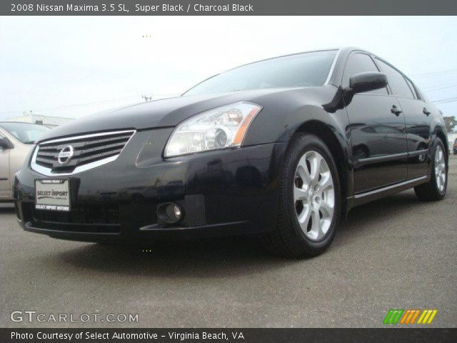 super black 2008 nissan maxima 3 5 sl charcoal black interior vehicle. Black Bedroom Furniture Sets. Home Design Ideas
