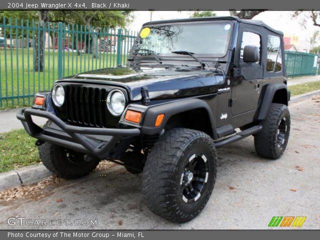 black 2004 jeep wrangler x 4x4 khaki interior vehicle archive 46091671. Black Bedroom Furniture Sets. Home Design Ideas