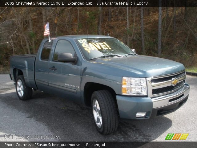 blue granite metallic 2009 chevrolet silverado 1500 lt extended cab ebony interior. Black Bedroom Furniture Sets. Home Design Ideas