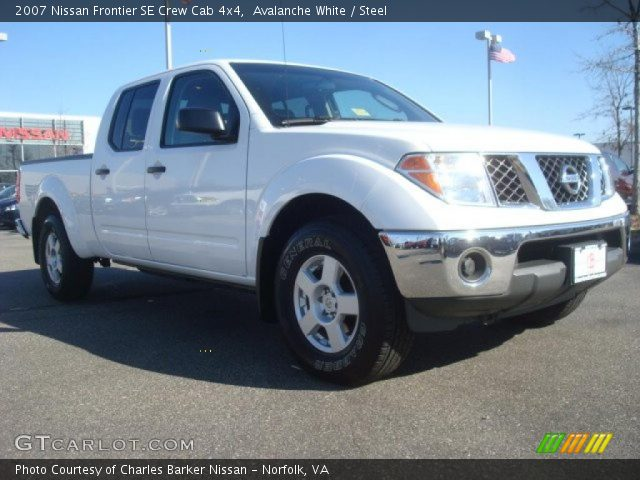 avalanche white 2007 nissan frontier se crew cab 4x4 steel interior vehicle. Black Bedroom Furniture Sets. Home Design Ideas