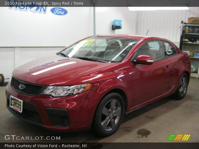 spicy red 2010 kia forte koup ex stone interior vehicle archive 46244684. Black Bedroom Furniture Sets. Home Design Ideas