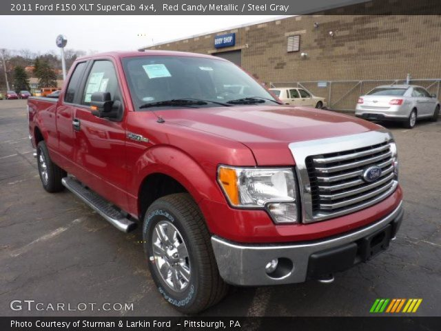 red candy metallic 2011 ford f150 xlt supercab 4x4 steel gray interior. Black Bedroom Furniture Sets. Home Design Ideas