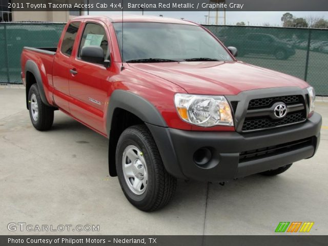 barcelona red metallic 2011 toyota tacoma access cab 4x4 graphite gray interior gtcarlot. Black Bedroom Furniture Sets. Home Design Ideas