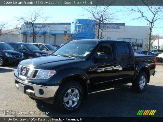 super black 2009 nissan frontier se crew cab 4x4 steel interior vehicle. Black Bedroom Furniture Sets. Home Design Ideas