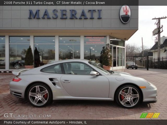gt silver metallic 2008 porsche 911 turbo coupe cocoa brown interior. Black Bedroom Furniture Sets. Home Design Ideas