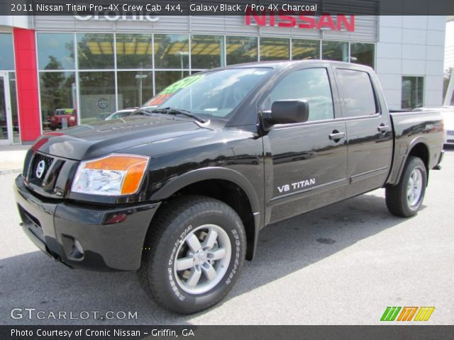 galaxy black 2011 nissan titan pro 4x crew cab 4x4 pro 4x charcoal interior. Black Bedroom Furniture Sets. Home Design Ideas
