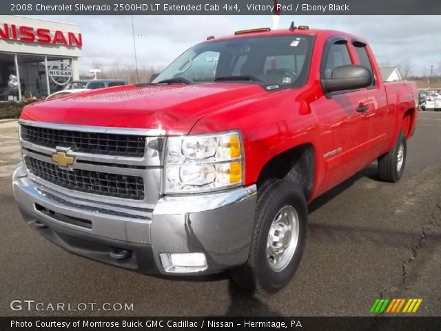victory red 2008 chevrolet silverado 2500hd lt extended cab 4x4 ebony black interior. Black Bedroom Furniture Sets. Home Design Ideas