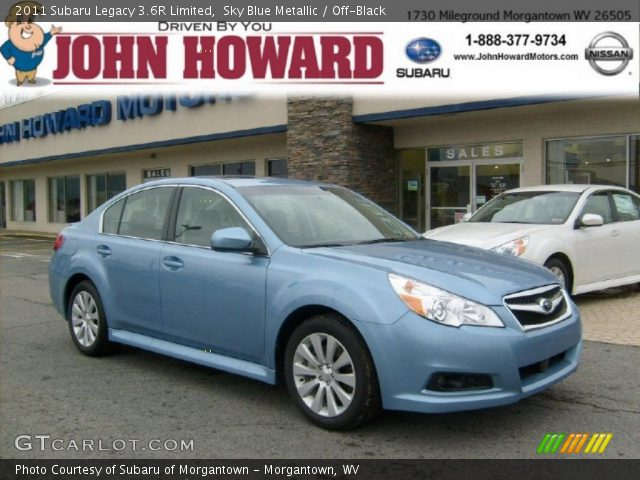 sky blue metallic 2011 subaru legacy 3 6r limited off black interior. Black Bedroom Furniture Sets. Home Design Ideas
