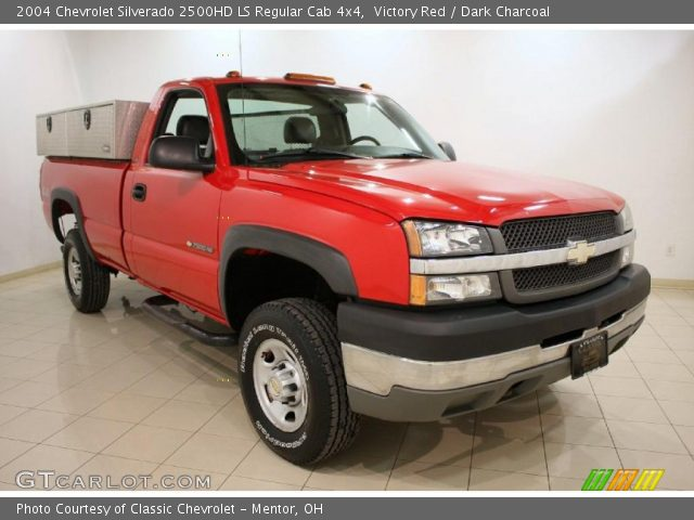 victory red 2004 chevrolet silverado 2500hd ls regular cab 4x4 dark charcoal interior. Black Bedroom Furniture Sets. Home Design Ideas