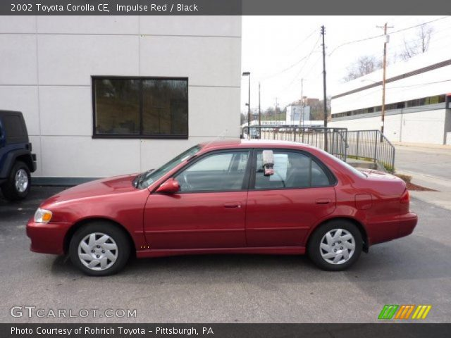 Impulse Red 2002 Toyota Corolla Ce Black Interior Vehicle Archive 46967283