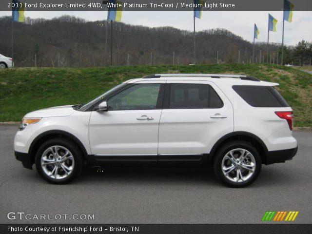 White Platinum Tri-Coat - 2011 Ford Explorer Limited 4WD - Medium Light Stone Interior ...