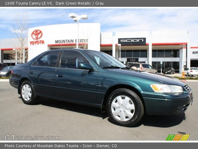 dark green metallic 1998 toyota camry le v6 gray interior vehicle archive. Black Bedroom Furniture Sets. Home Design Ideas