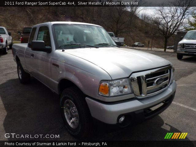 silver metallic 2011 ford ranger sport supercab 4x4 medium dark flint interior gtcarlot. Black Bedroom Furniture Sets. Home Design Ideas