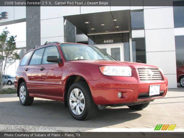 garnet red pearl 2008 subaru forester 2 5 x desert beige interior vehicle. Black Bedroom Furniture Sets. Home Design Ideas