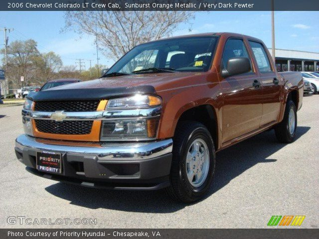 sunburst orange metallic 2006 chevrolet colorado lt crew cab very dark pewter interior. Black Bedroom Furniture Sets. Home Design Ideas