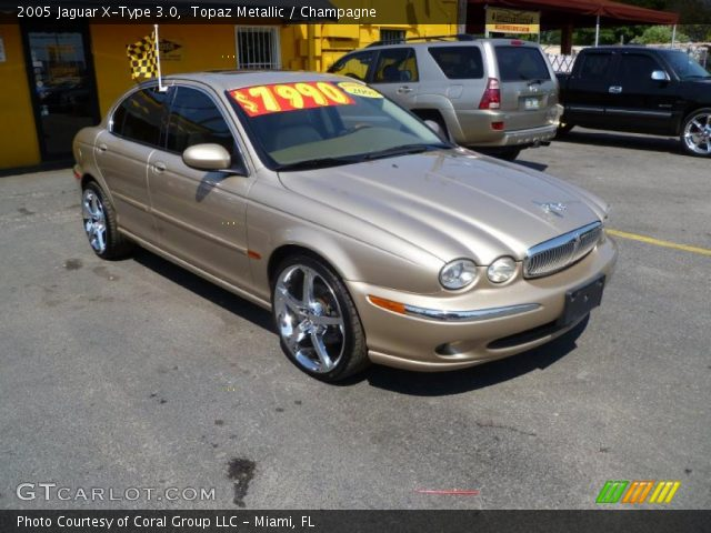 topaz metallic 2005 jaguar x type 3 0 champagne interior vehicle archive. Black Bedroom Furniture Sets. Home Design Ideas