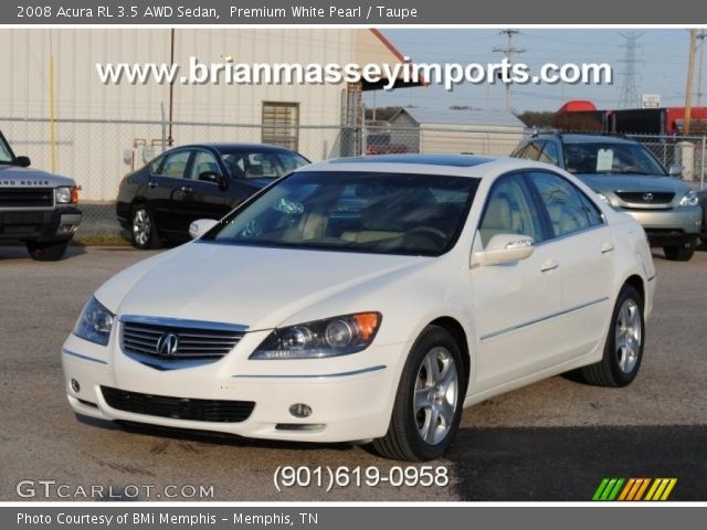 premium white pearl 2008 acura rl 3 5 awd sedan taupe interior vehicle. Black Bedroom Furniture Sets. Home Design Ideas