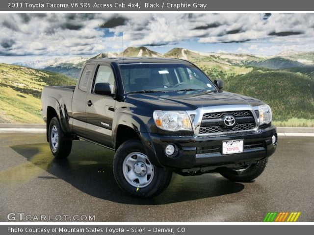 black 2011 toyota tacoma v6 sr5 access cab 4x4 graphite gray interior. Black Bedroom Furniture Sets. Home Design Ideas