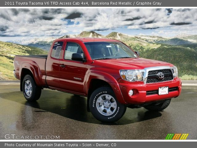 barcelona red metallic 2011 toyota tacoma v6 trd access cab 4x4 graphite gray interior. Black Bedroom Furniture Sets. Home Design Ideas