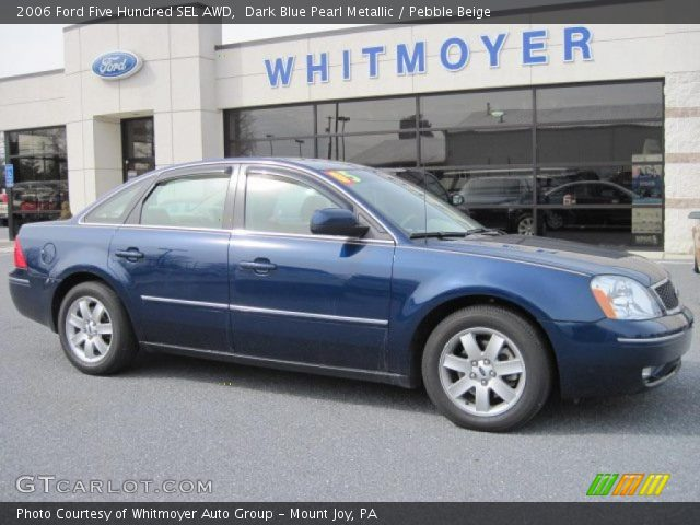 dark blue pearl metallic 2006 ford five hundred sel awd pebble beige interior. Black Bedroom Furniture Sets. Home Design Ideas