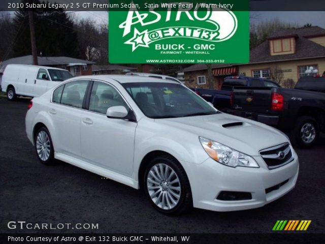 satin white pearl 2010 subaru legacy 2 5 gt premium sedan warm ivory interior. Black Bedroom Furniture Sets. Home Design Ideas