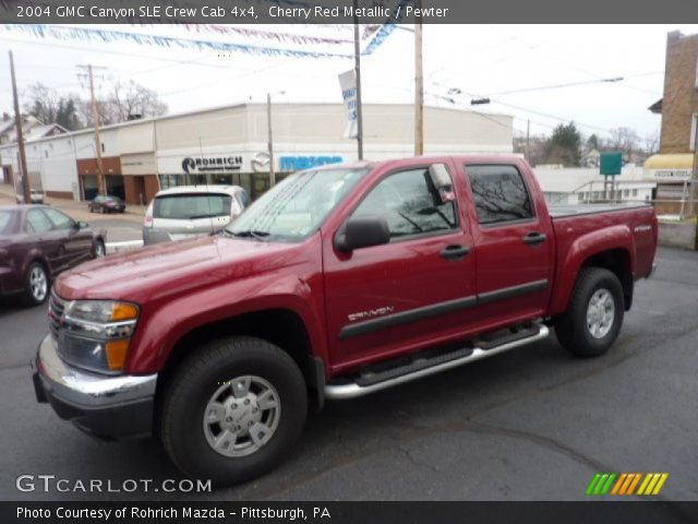 cherry red metallic 2004 gmc canyon sle crew cab 4x4 pewter interior. Black Bedroom Furniture Sets. Home Design Ideas