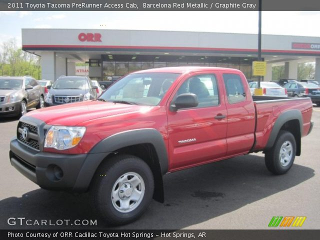 barcelona red metallic 2011 toyota tacoma prerunner access cab graphite gray interior. Black Bedroom Furniture Sets. Home Design Ideas