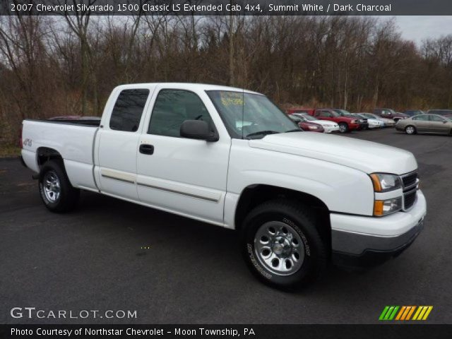 summit white 2007 chevrolet silverado 1500 classic ls extended cab 4x4 dark charcoal. Black Bedroom Furniture Sets. Home Design Ideas