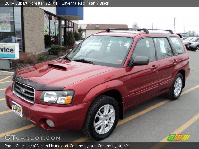 Cayenne Red Pearl 2004 Subaru Forester 25 Xt Black Interior