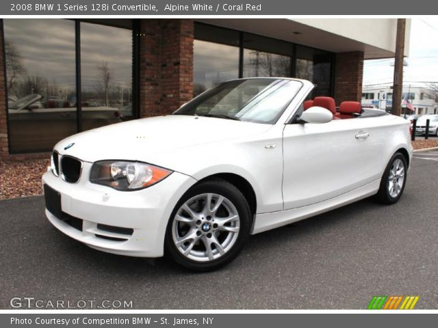Alpine White 2008 Bmw 1 Series 128i Convertible Coral Red Interior Vehicle