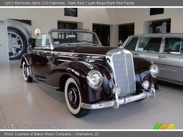 Dark red 1953 mercedes benz 220 cabriolet light beige for South carolina department of motor vehicles charleston sc