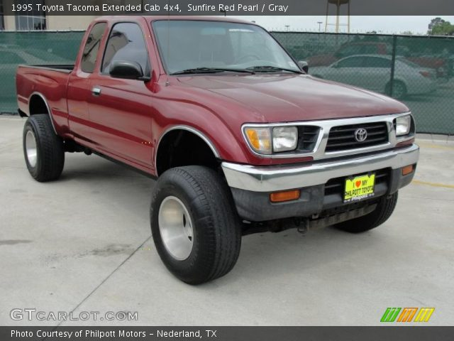 sunfire red pearl 1995 toyota tacoma extended cab 4x4 gray interior vehicle. Black Bedroom Furniture Sets. Home Design Ideas