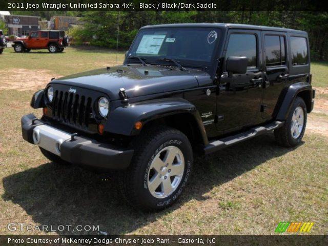 Black 2011 Jeep Wrangler Unlimited Sahara 4x4 Black Dark Saddle Interior