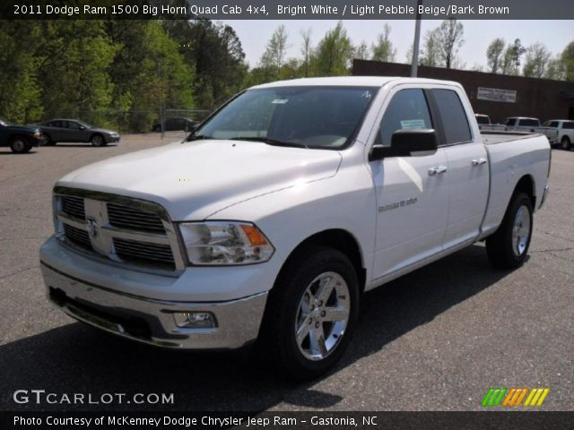 bright white 2011 dodge ram 1500 big horn quad cab 4x4 light pebble beige bark brown. Black Bedroom Furniture Sets. Home Design Ideas