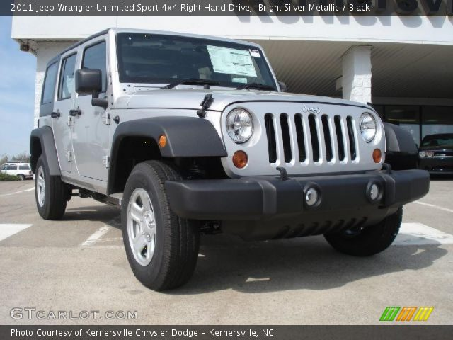 bright silver metallic 2011 jeep wrangler unlimited sport 4x4 right hand drive black. Black Bedroom Furniture Sets. Home Design Ideas