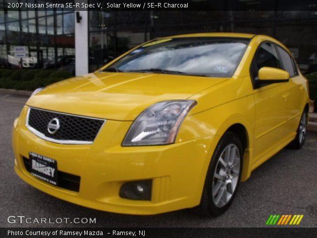 solar yellow 2007 nissan sentra se r spec v se r charcoal interior vehicle. Black Bedroom Furniture Sets. Home Design Ideas