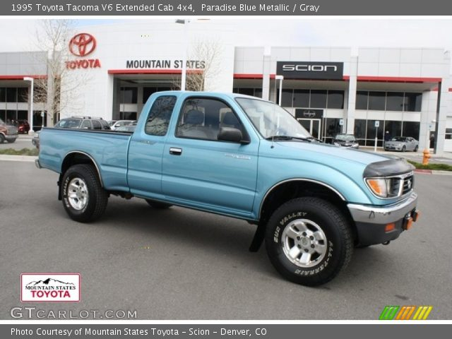 paradise blue metallic 1995 toyota tacoma v6 extended cab 4x4 gray interior. Black Bedroom Furniture Sets. Home Design Ideas