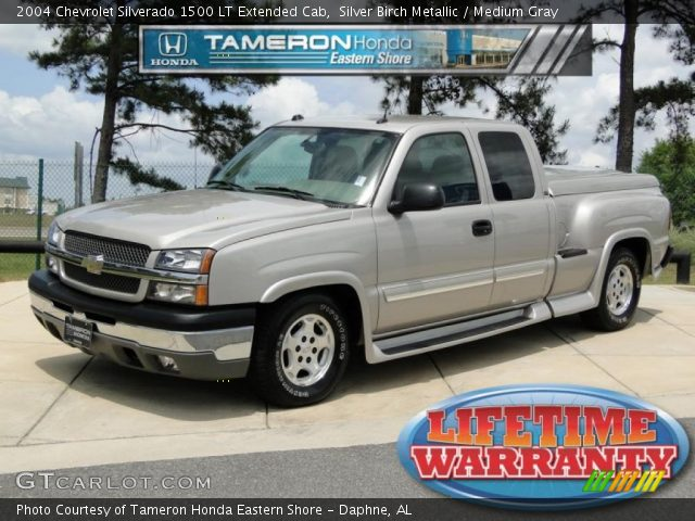 silver birch metallic 2004 chevrolet silverado 1500 lt extended cab medium gray interior. Black Bedroom Furniture Sets. Home Design Ideas