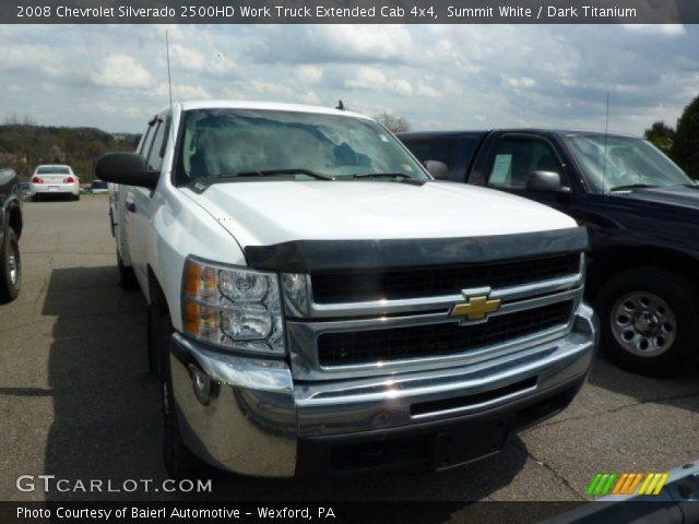 summit white 2008 chevrolet silverado 2500hd work truck extended cab 4x4 dark titanium. Black Bedroom Furniture Sets. Home Design Ideas