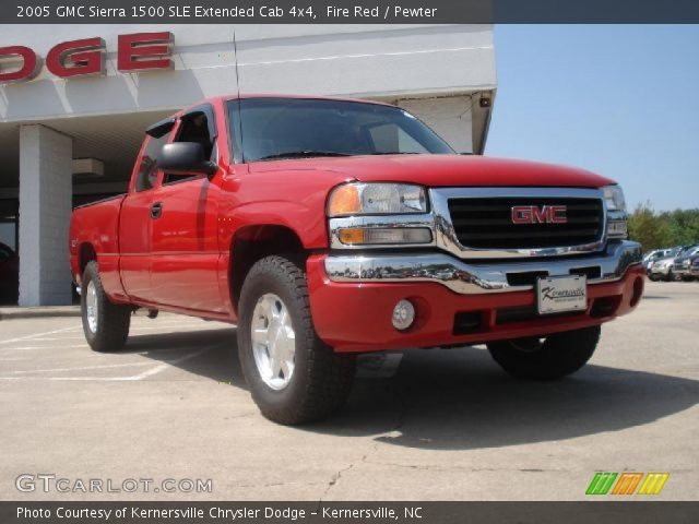 fire red 2005 gmc sierra 1500 sle extended cab 4x4 pewter interior vehicle. Black Bedroom Furniture Sets. Home Design Ideas