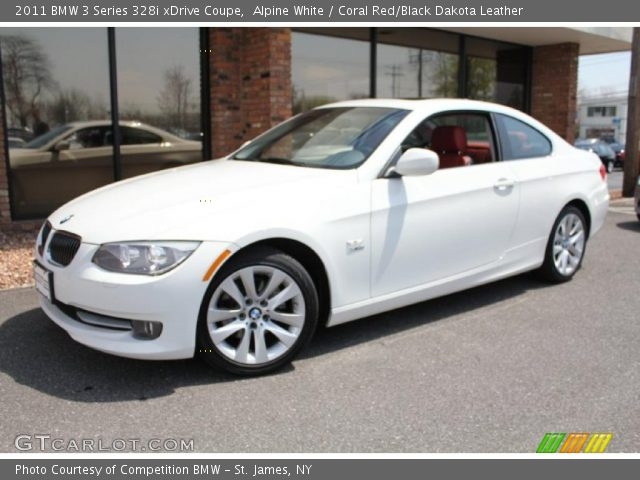 Alpine white 2011 bmw 3 series 328i xdrive coupe coral red black dakota leather interior for White bmw with red interior for sale
