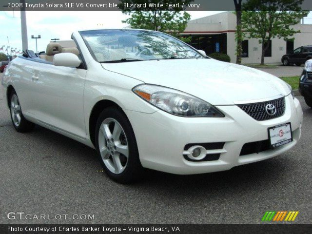 blizzard white pearl 2008 toyota solara sle v6 convertible ivory interior. Black Bedroom Furniture Sets. Home Design Ideas