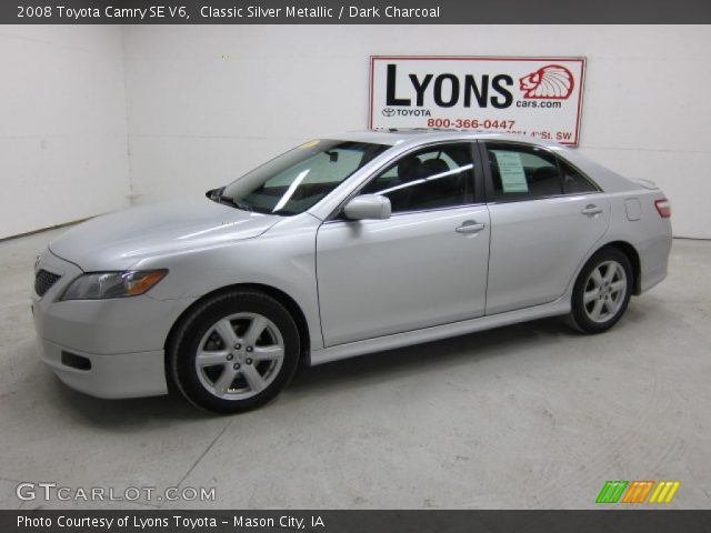 classic silver metallic 2008 toyota camry se v6 dark charcoal interior. Black Bedroom Furniture Sets. Home Design Ideas