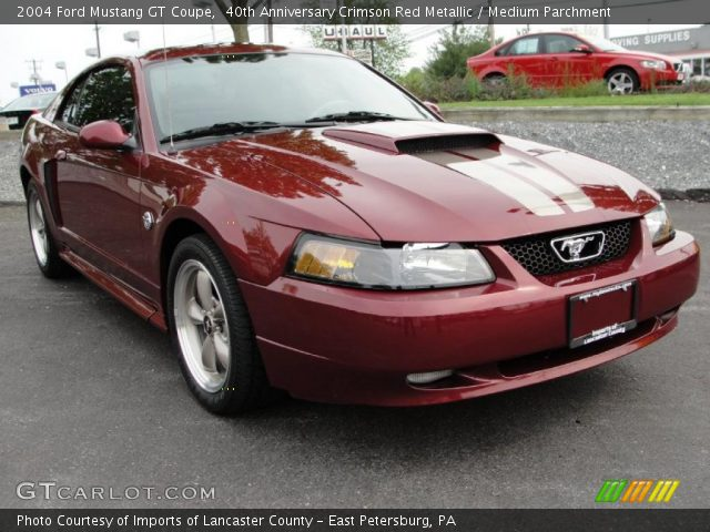40th anniversary crimson red metallic 2004 ford mustang gt coupe medium parchment interior. Black Bedroom Furniture Sets. Home Design Ideas