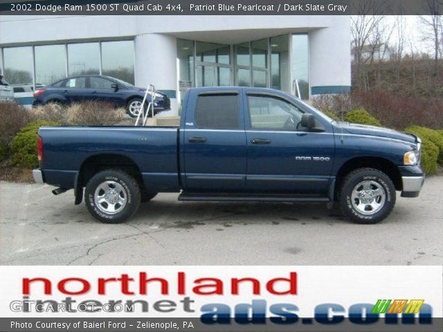 patriot blue pearlcoat 2002 dodge ram 1500 st quad cab 4x4 dark slate gray interior. Black Bedroom Furniture Sets. Home Design Ideas