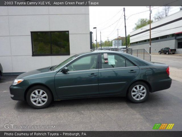 aspen green pearl 2003 toyota camry xle v6 taupe interior vehicle archive. Black Bedroom Furniture Sets. Home Design Ideas