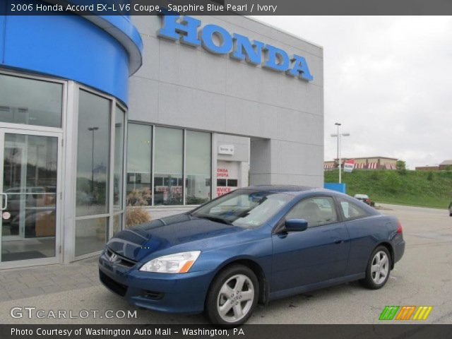 sapphire blue pearl 2006 honda accord ex l v6 coupe ivory interior vehicle. Black Bedroom Furniture Sets. Home Design Ideas