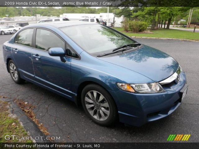 atomic blue metallic 2009 honda civic ex l sedan gray interior vehicle. Black Bedroom Furniture Sets. Home Design Ideas