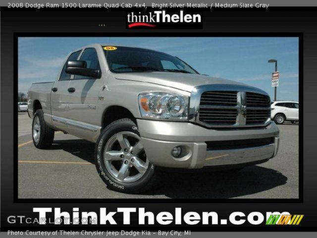 Bright Silver Metallic 2008 Dodge Ram 1500 Laramie Quad Cab 4x4 Medium Slate Gray Interior