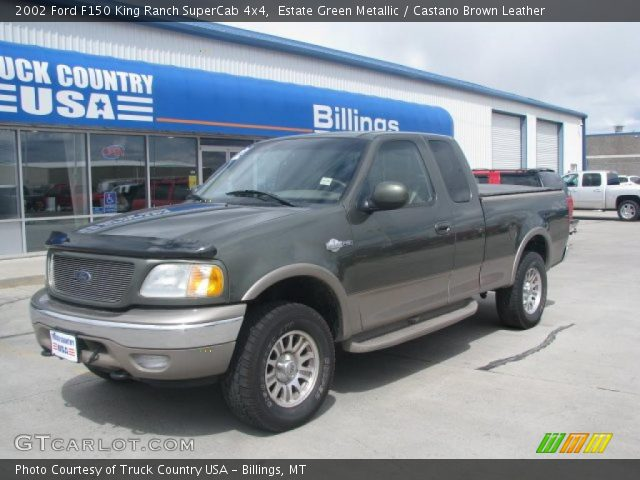 estate green metallic 2002 ford f150 king ranch supercab 4x4 castano brown leather interior. Black Bedroom Furniture Sets. Home Design Ideas